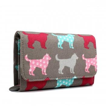 LP1687NDG - Miss Lulu Canvas Printed Flapover Purse Dog Grey