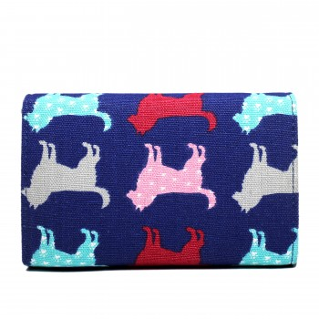 LP1687NDG - Miss Lulu Canvas Printed Flapover Purse Dog Navy