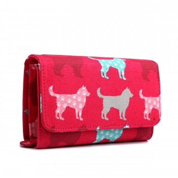 LP1687NDG - Miss Lulu Canvas Printed Flapover Purse Dog Plum