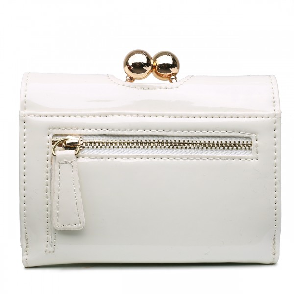 LP1688 - Miss Lulu Patent Leather Look Small Ball Clasp Matinee Purse Beige