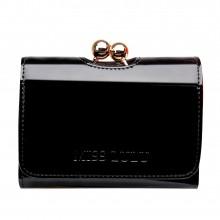 LP1688 - Petit portefeuilles Miss Lulu en cuir vernis avec fermoir à boules en noir