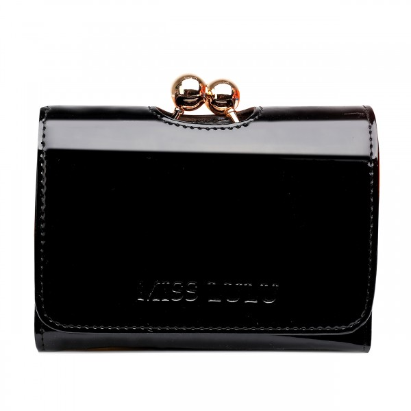 LP1688 - Miss Lulu Patent Leather Look Small Ball Clasp Matinee Purse Black