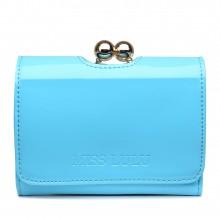 LP1688 - Petit portefeuilles Miss Lulu en cuir vernis avec fermoir à boules en bleu