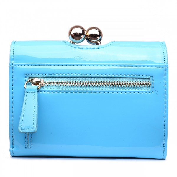 LP1688 - Miss Lulu Patent Leather Look Small Ball Clasp Matinee Purse Blue