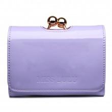 LP1688 - Petit portefeuilles Miss Lulu en cuir vernis avec fermoir à boules en mauve