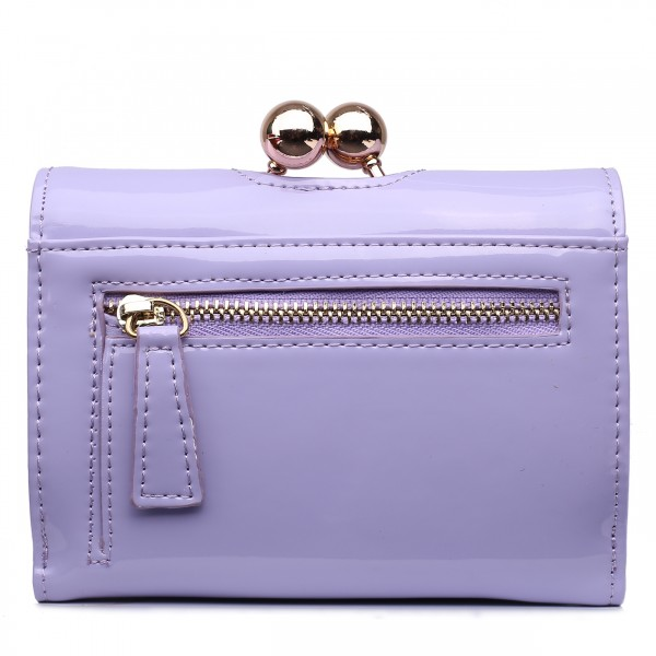 LP1688 - Miss Lulu Patent Leather Look Small Ball Clasp Matinee Purse Light Purple