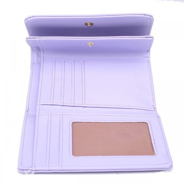 LP1688 - Miss Lulu Patent Leather Look Small Ball Clasp Matinee Purse Light Purple