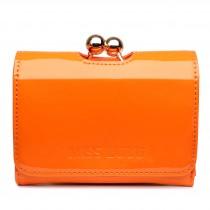 LP1688 - Miss Lulu Patent Leather Look Small Ball Clasp Matinee Purse Orange