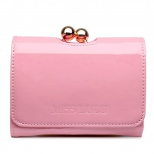 LP1688 - Petit portefeuilles Miss Lulu en cuir vernis avec fermoir à boules en rose