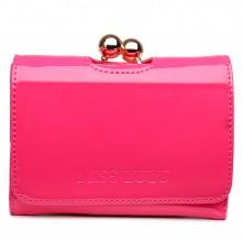 LP1688 - Petit portefeuilles Miss Lulu en cuir vernis avec fermoir à boules en rose foncé