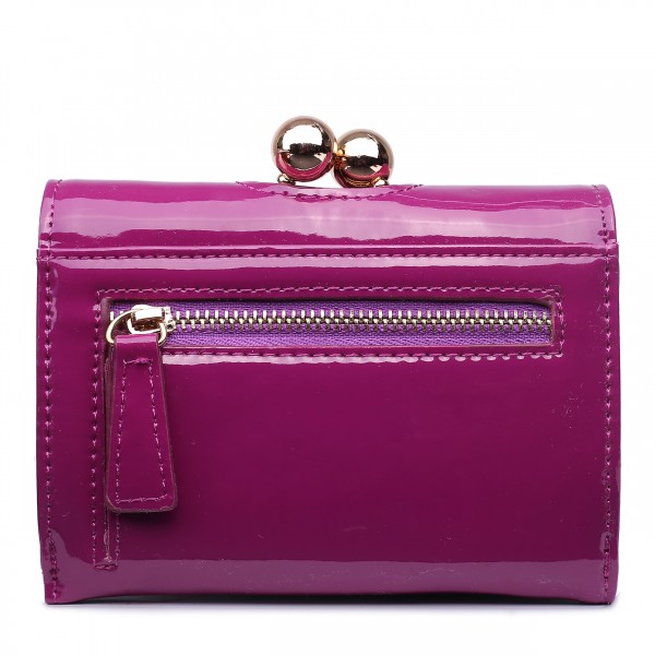 LP1688 - Miss Lulu Patent Leather Look Small Ball Clasp Matinee Purse Purple