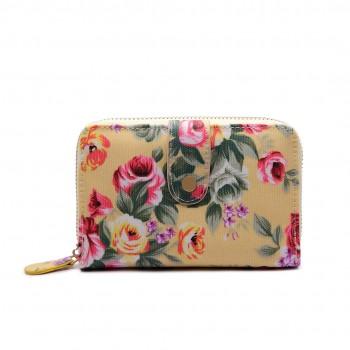 LP1689 - Miss Lulu Matte Oilcloth Flower Print Purse Beige