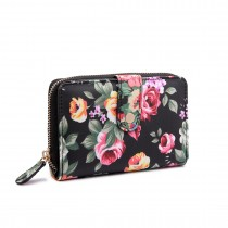 LP1689 - Miss Lulu Matte Oilcloth Flower Print Purse Black