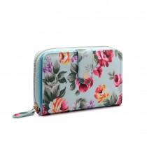 LP1689 - Miss Lulu Matte Oilcloth Flower Print Purse Blue