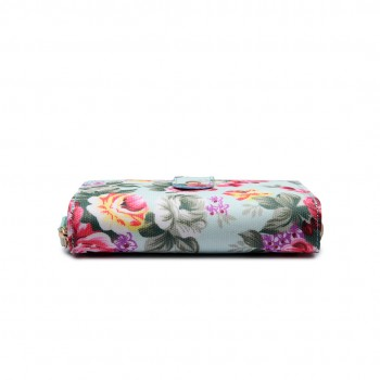 LP1689 - Miss Lulu Matte Oilcloth Flower Print Purse Blue