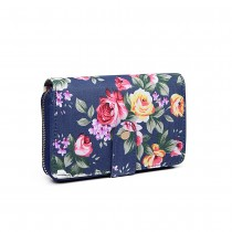 LP1689-Miss LuLu Matte Oilcloth Flower Print Purse Navy