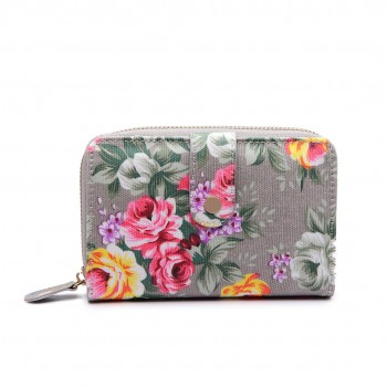LP1689 - Miss Lulu Matte Oilcloth Flower Print Purse Grey