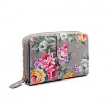 LP1689 - Miss Lulu Matte Oilcloth Flower Print Purse Grey