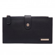 LP1690 - Kono Faux Leather Long Folding Purse Wallet Black
