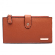 LP1690 - Kono Faux Leather Long Folding Purse Wallet Brown