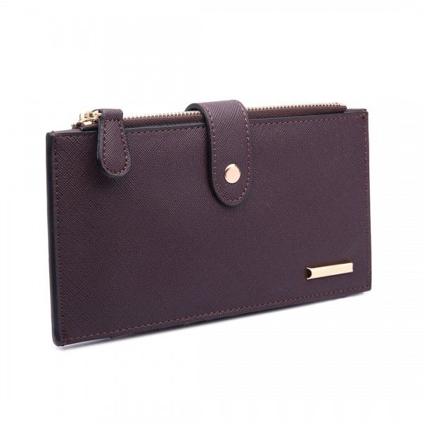 LP1690 - Kono Faux Leather Long Folding Purse Wallet Coffee