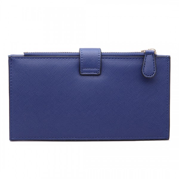 LP1690 - Kono Faux Leather Long Folding Purse Wallet Navy
