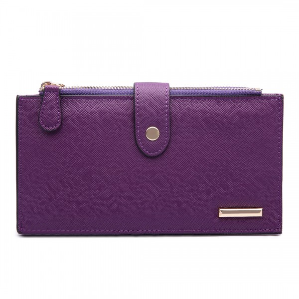 LP1690 - Kono Faux Leather Long Folding Purse Wallet Purple