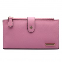 LP1690 - Kono Faux Leather Long Folding Purse Wallet Pink