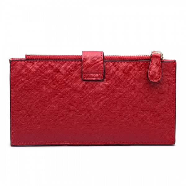 LP1690 - Kono Faux Leather Long Folding Purse Wallet Red