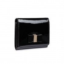 LP1694 - Miss Lulu Small Patent Leather Look Bow Purse Black