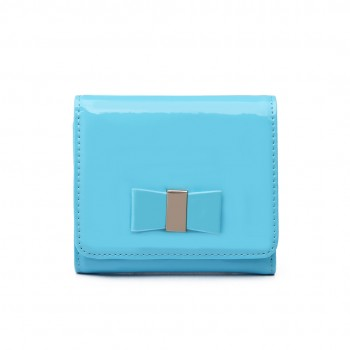 LP1694-Miss LuLu Samll Textured Leather Look Bow Clip Purse Blue