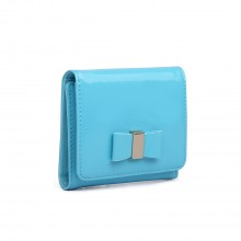 LP1694 - Miss Lulu Small Patent Leather Look Bow Purse Blue