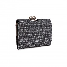 LP1781 BK - Miss Lulu Glittering Small Clasp Purse Black