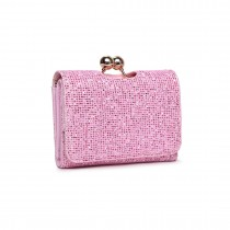 LP1781 PK - Miss Lulu Glittering Small Clasp Purse Pink