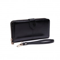 LP1782 BK - Unisex Leather Look Zipped Long Purse Black