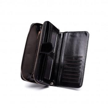 LP1782 BK - Unisex Leather Look Zipped Long Purse Black