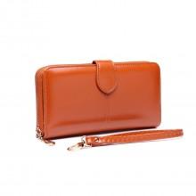 LP1782 BN - Sac à main zippé en cuir unisexe marron