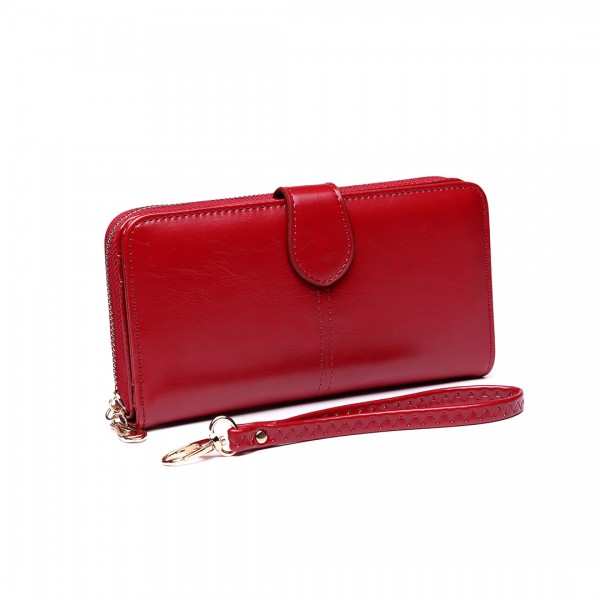 LP1782 BY - Unisex Leather Look Zipped Long Purse Burgundry