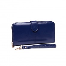 LP1782 NY - Unisex Leather Look Zipped Long Purse Navy