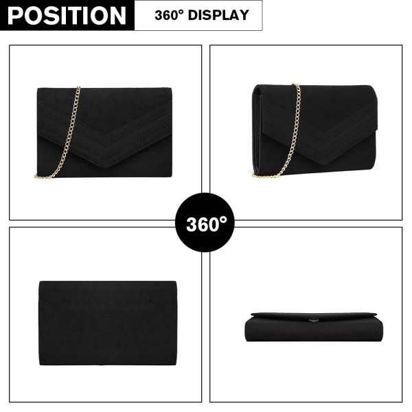 LP1963 - MISS LULU CHEVRON ENVELOPE CLUTCH BAG - BLACK