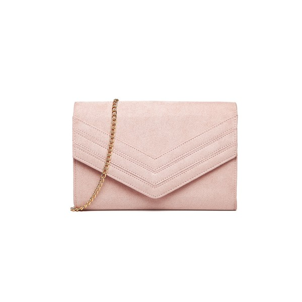 LP1963 - MISS LULU CHEVRON ENVELOPE CLUTCH BAG - PINK