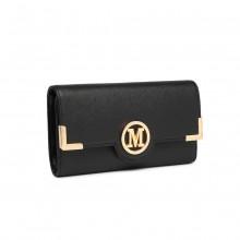 LP2022 - Miss Lulu Leather Look Classic Long Purse - Black
