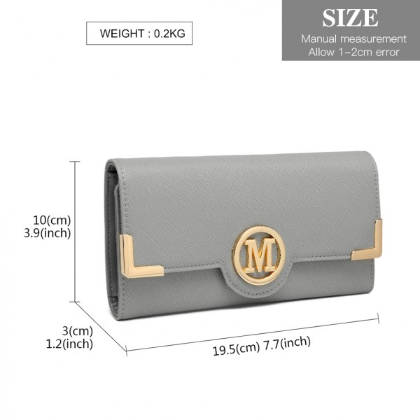 LP2022 - Miss Lulu Leather Look Classic Long Purse - Grey