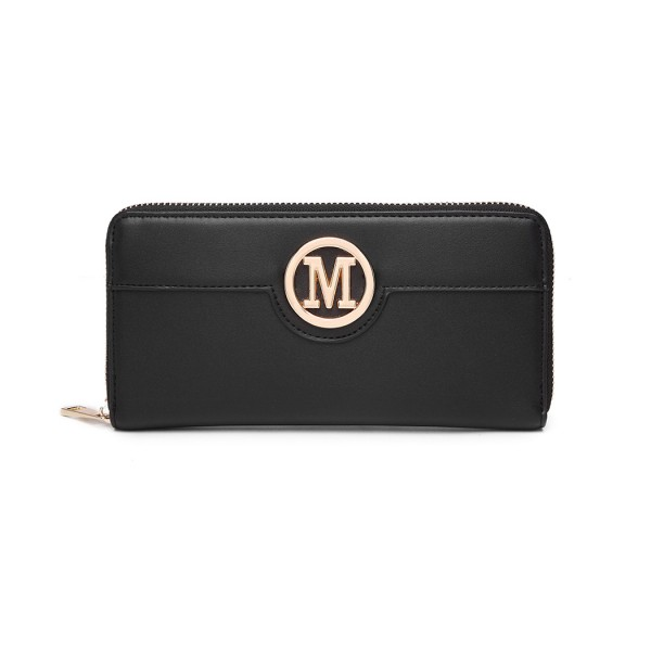 LP2031 - Miss Lulu Women's Leather Look Purse - Black