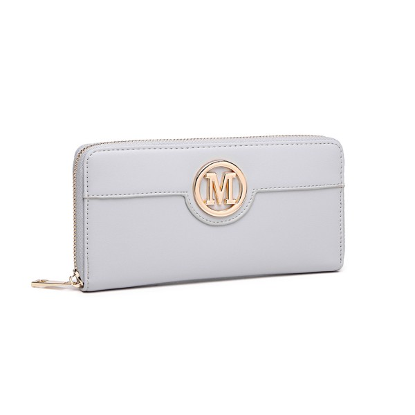 LP2031 - Miss Lulu Women's Leather Look Purse - Grey