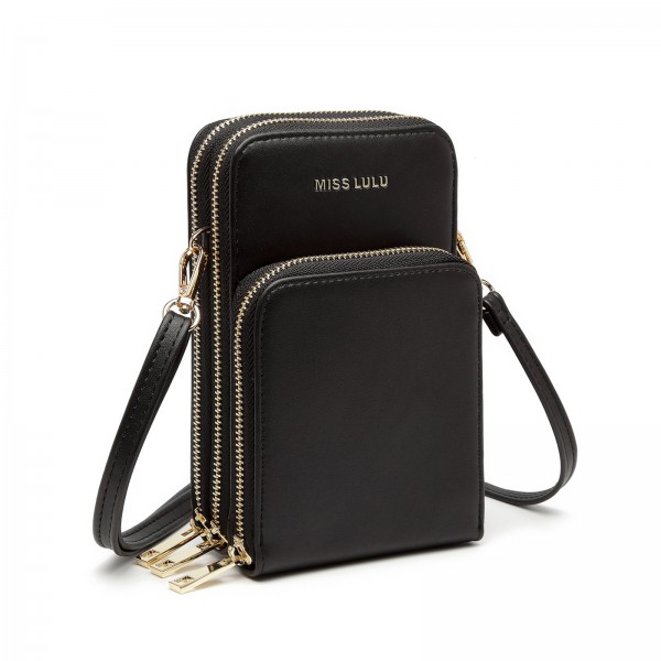 LP2050 - Miss Lulu Structured Multiple Compartment Cross Body Bag With Removable Straps - Black