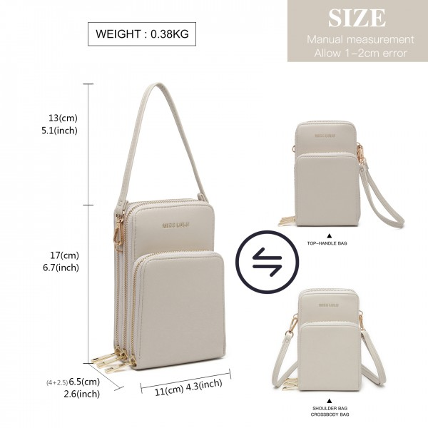 LP2050 - Miss Lulu Structured Multiple Compartment Cross Body Bag With Removable Straps - Grey