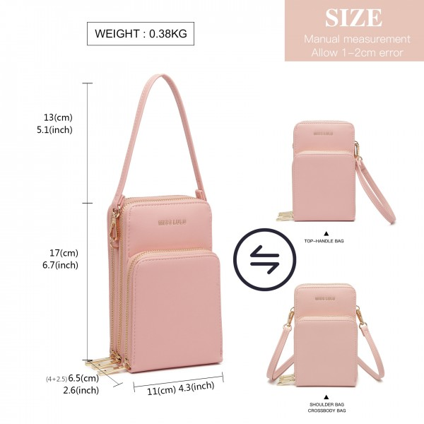 LP2050 - Miss Lulu Structured Multiple Compartment Cross Body Bag With Removable Straps - Pink