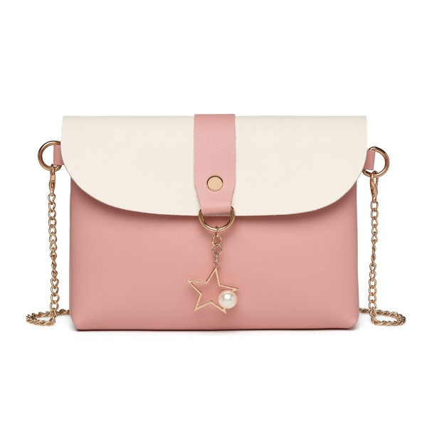 LP2061 - Miss Lulu Cross body Purse with a Charm - Pink