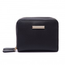 LP6680- PU Leather Double Zipped Coin Purse Black